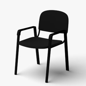 arms office visitor chair 3D model