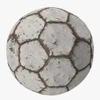 3D model white scratched soccer ball
