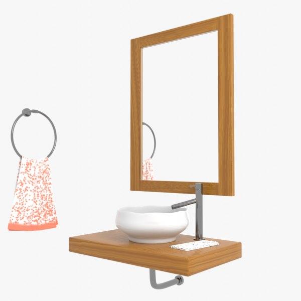 3D corner wall bathroom sink