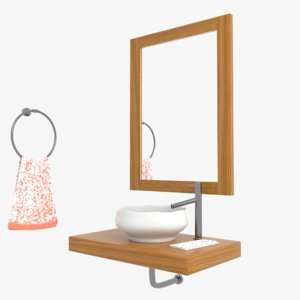 3D corner wall bathroom sink