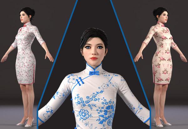 3D woman beauty asian