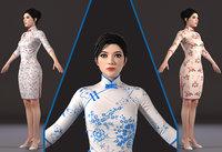 Asian woman Chinese dress beauty 3D model
