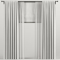3D curtains roman white model
