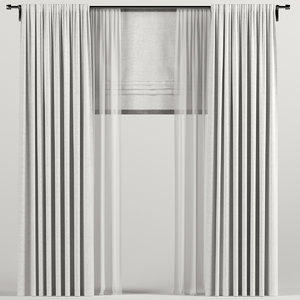 3D curtains roman white model