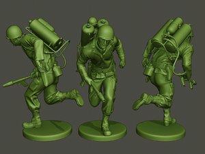 3D model american soldier ww2 run