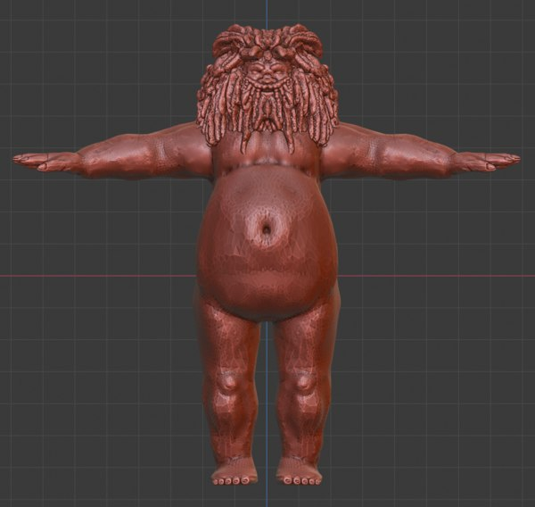 obese character beard 3D