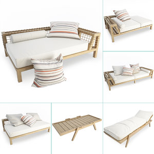 synthesis wooden outdoor furniture 3D model