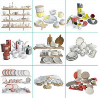 3D tableware table plates 01
