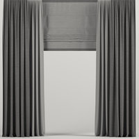 curtains dark roman 3D