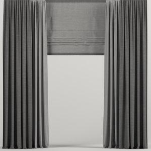 curtains dark roman 3D