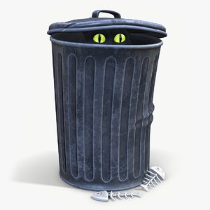 ready cartoon trash bin 3D model
