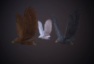 3D white flight animation model