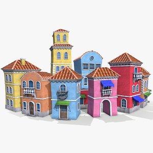 3D ready cartoon houses model