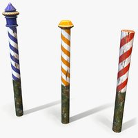 3D ready cartoon venice poles