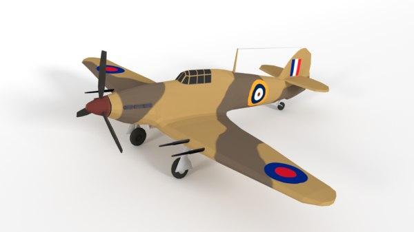 hawker hurricane mk iic 3D model
