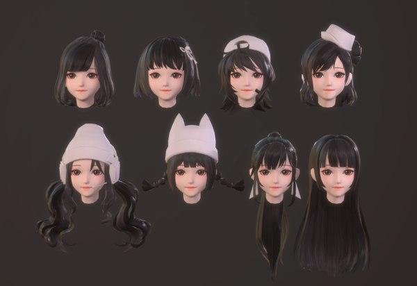 3D girl hair anime