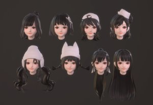 3D girl hair anime