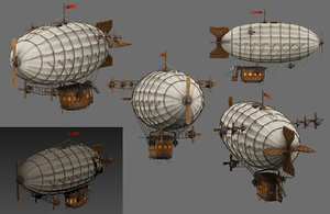 3D airship low-poly