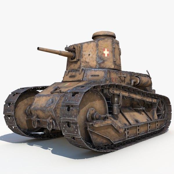 3D fiat 3000 light tank model
