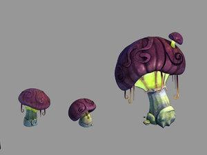 3D yunmengze - glowing mushrooms