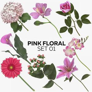 pink floral set 01 3D