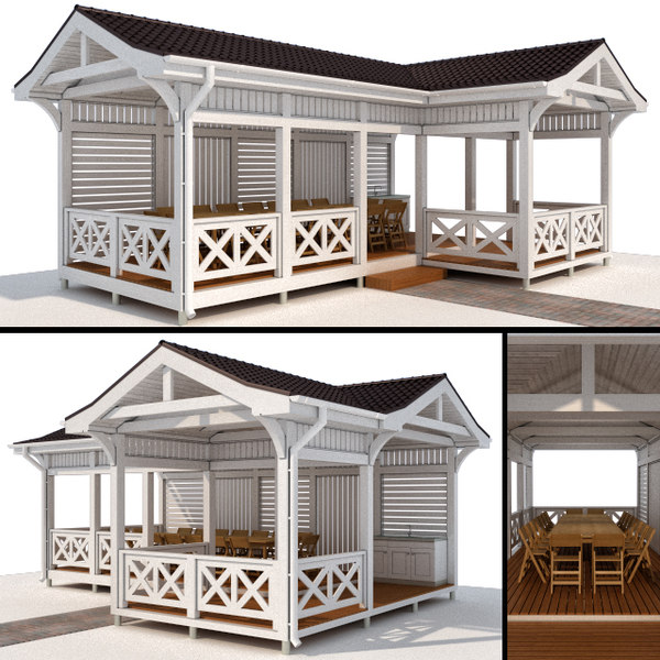 3D scandinavian style gazebo model
