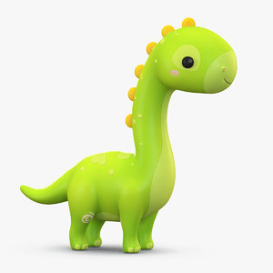 cartoon dinosaur brachiosaurus 3D model