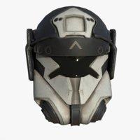 Helmet scifi military combat 3d model ver2