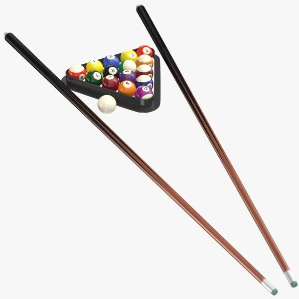 real billiard balls cue stick model