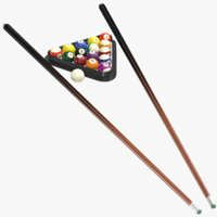 Billiard Triangle With Sticks Cue