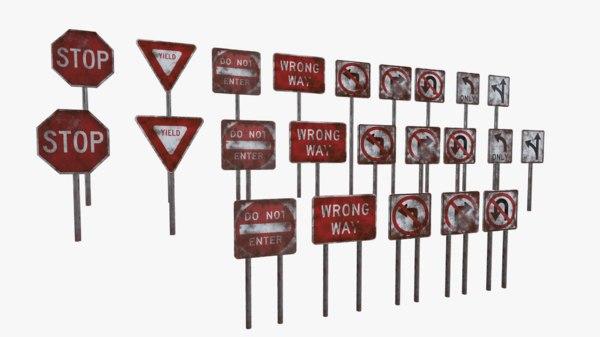 regulatory road signs 3D model