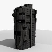 8k sci-fi ruin building model