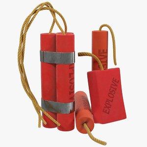 3D model tnt dynamite explosives
