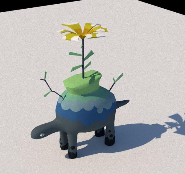 3D stylized plant turtle dinosaur