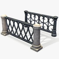 ready stylized pillar fence 3D