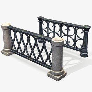 ready stylized pillar fence 3D
