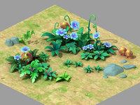 Plant - Blue Flower - Grass 02