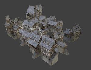 3D houses fantasy medieval model