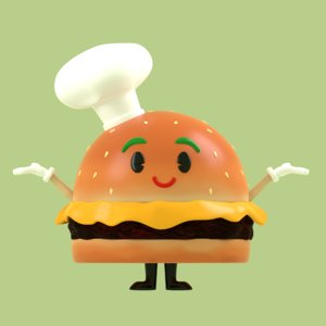 3D chef burger character model