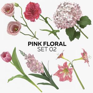 pink floral set 02 3D model