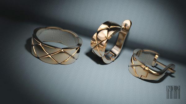 3D set ring earrings model