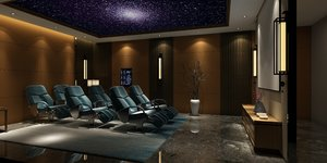 room home theatre interior scene 3D
