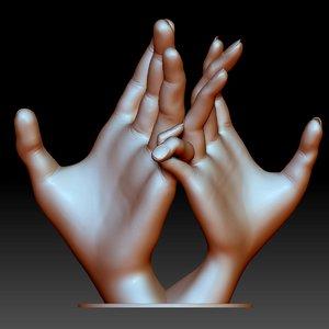 hands couple love sign 3D