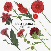 3D red floral set 01
