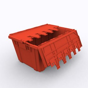 red plastic moving box 3D model