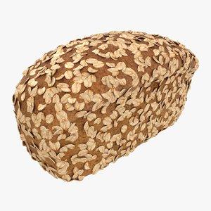 3D realistic oat bread