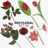 3D model red floral set 02