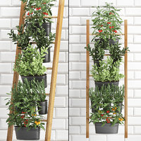 3D decorative plants kitchen railing