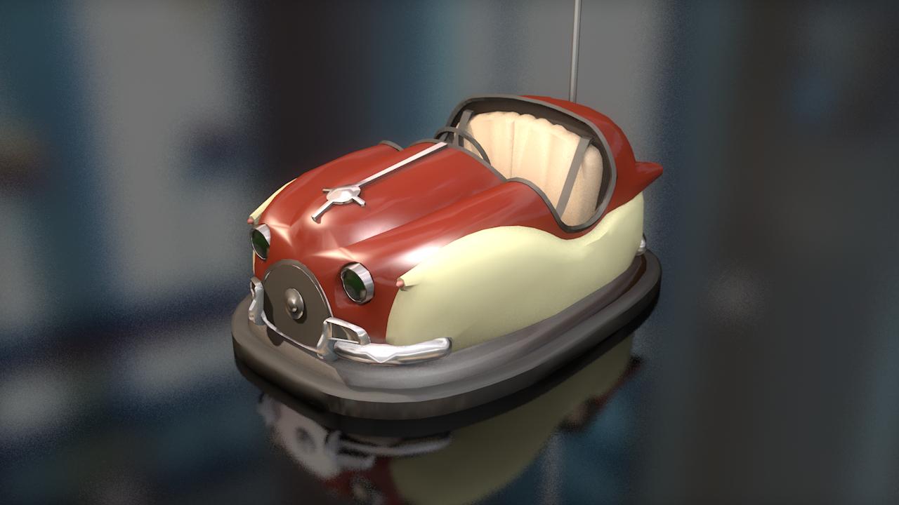 3D cart hits dumping bumper