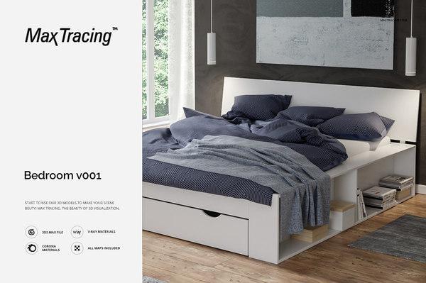 bedroom v001 scene 3D model